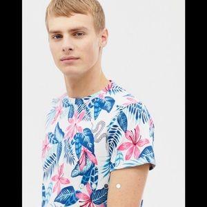 Hollister Floral Curved Hem Tropical T-shirt NWOT